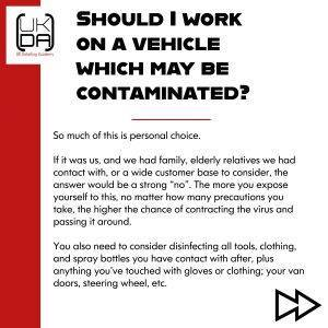 Should i work on a contaminated vehicle