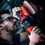 Ian using a Flex machine polisher